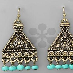 Triangle Chandelier Earrings Blue Beads